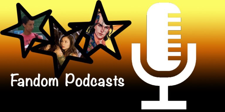 Microphone with Baz, Waverly and Abed in stars and text Fandom Podcasts over gradient background