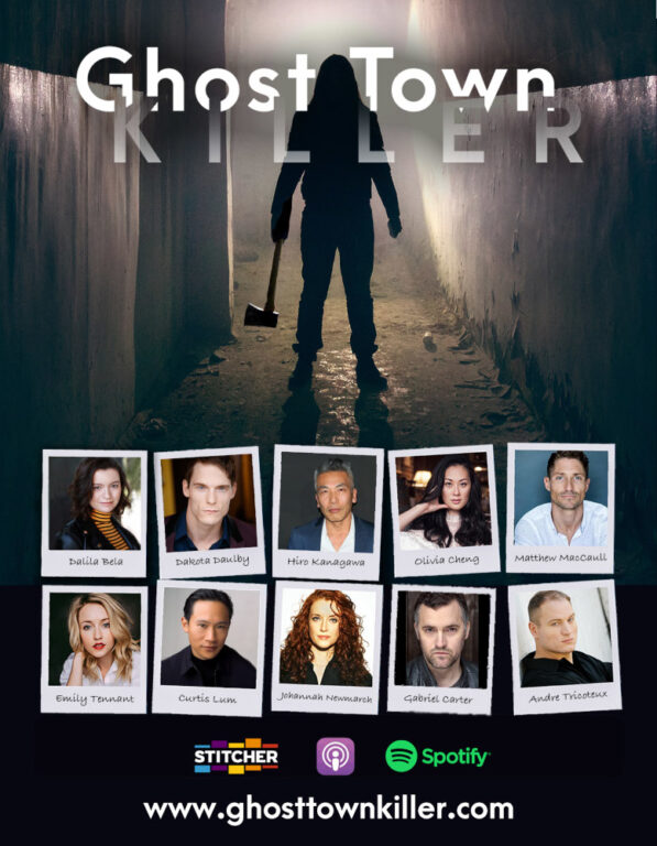 Ghost Town Killer logo with cast images.