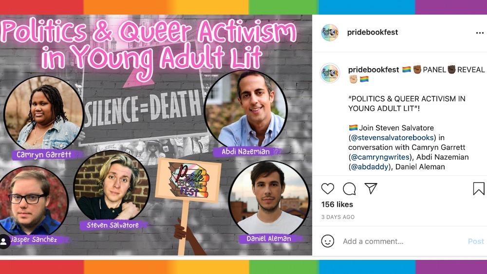 Pride book fest queer activism in YA lit panel instagram post