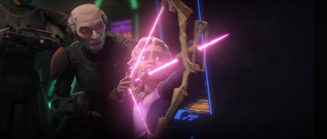 Omega practices with her energy bow on Star Wars: The Bad Batch