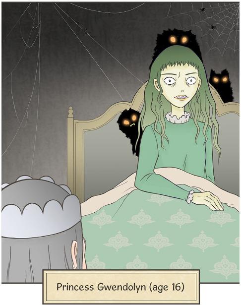 Gwen waking up in Cursed Princess Club.