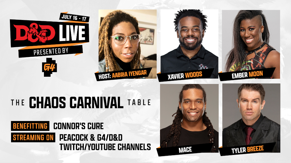The Chaos Carnival Table for D&D Live featuring Aabria Iyengar, Xavier Woods, Ember Moon, MACE and Tyler Breeze.