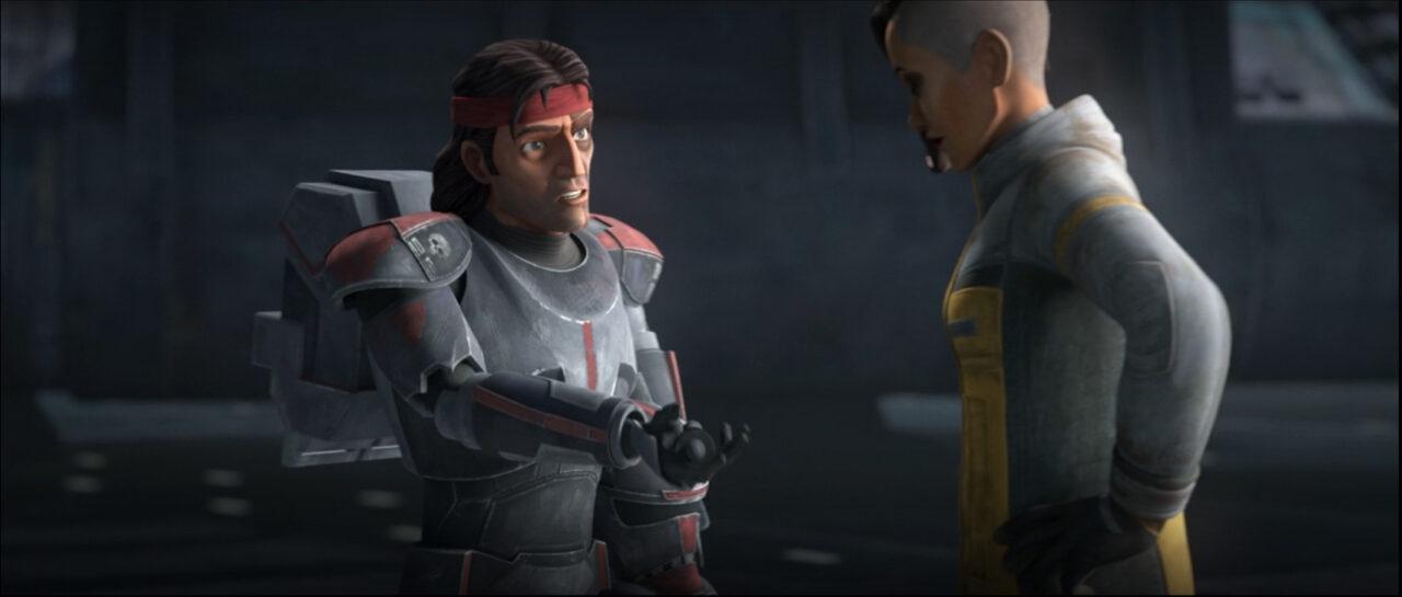 Hunter gives the intel to Rafa on Star Wars: The Bad Batch