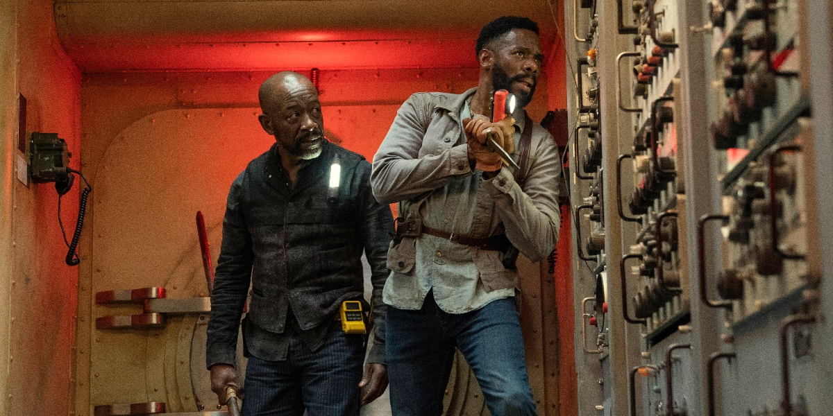 Morgan and Victor try to find a way around walkers to the control room on Fear the Walking Dead