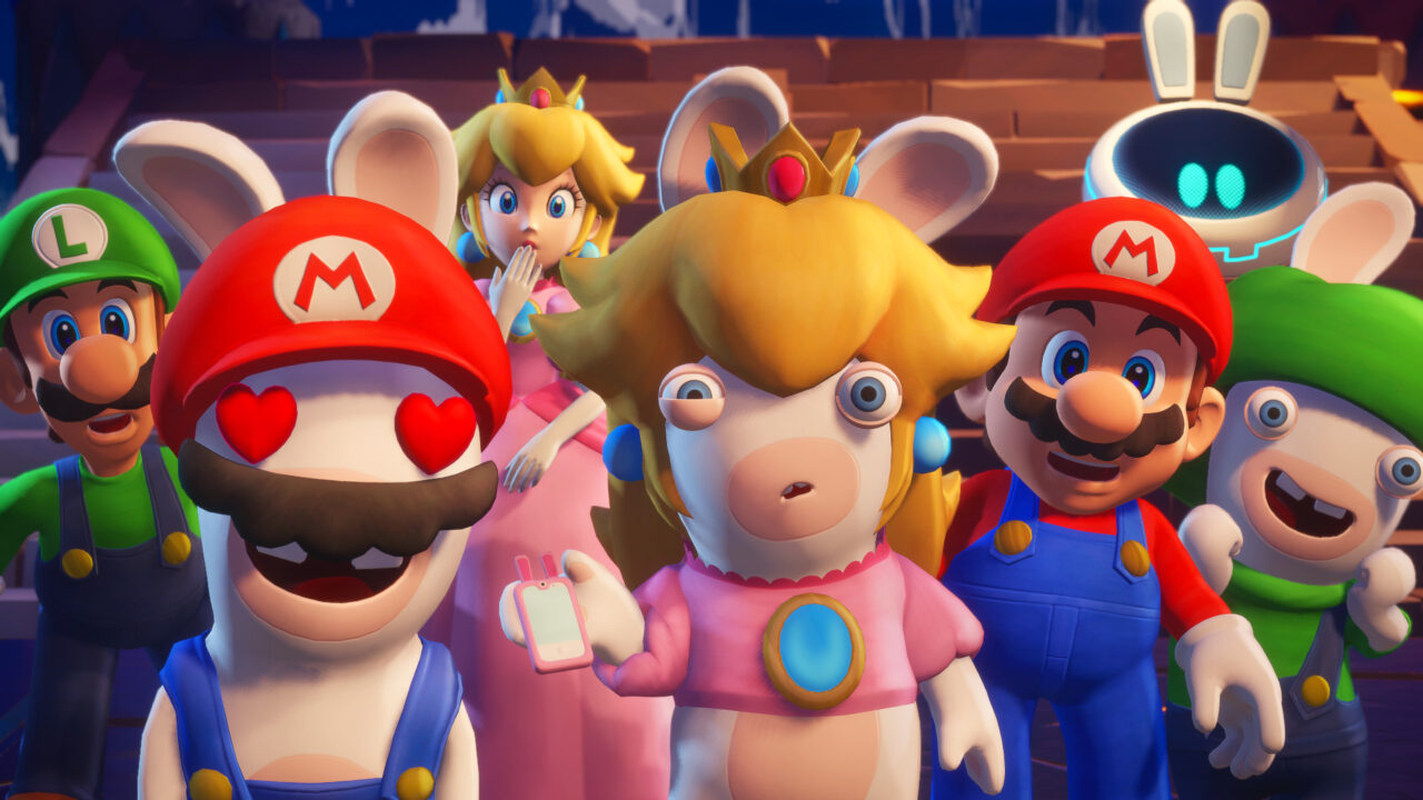 Mario and the Rabbids are surprised by a mysterious character
