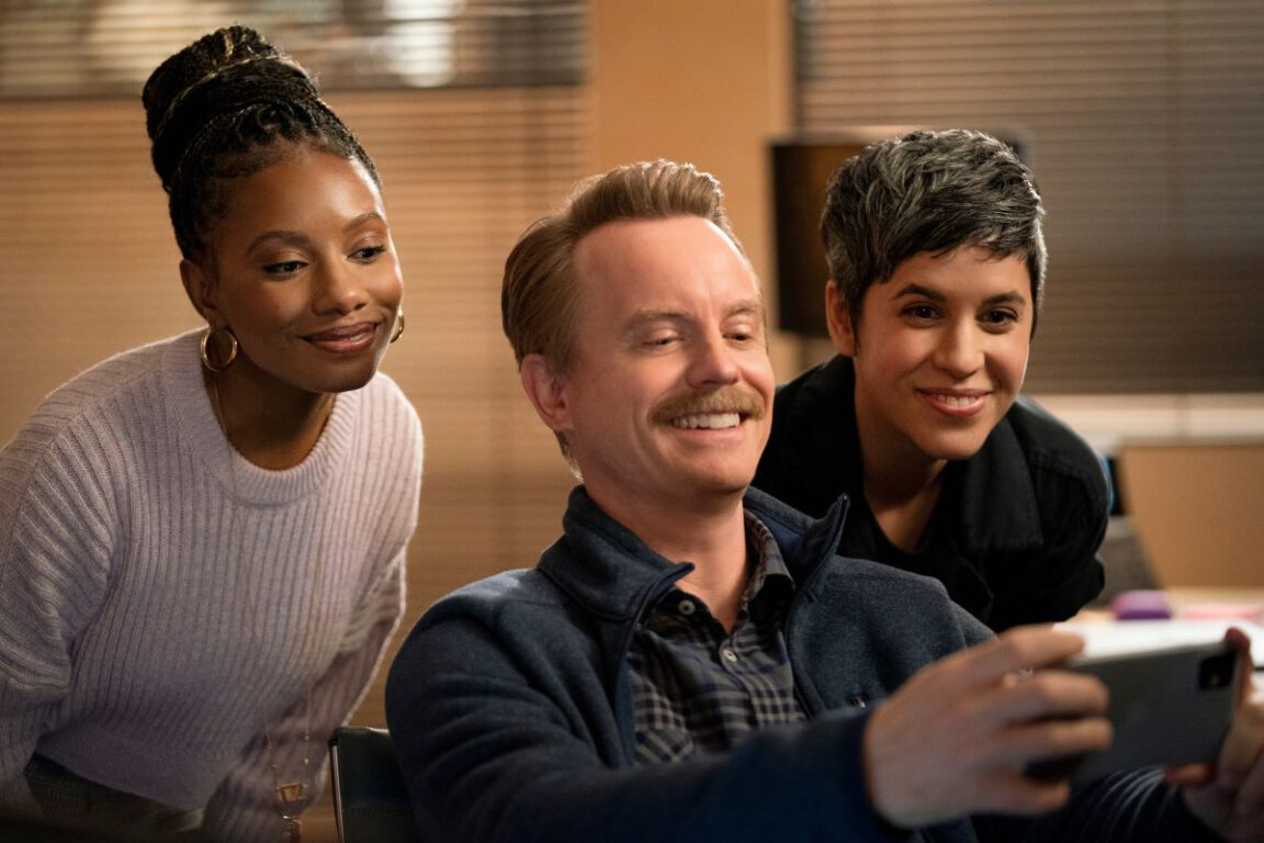 """Still of Imani Hakim, David Hornsby, and Ashly Burch in the Mythic Quest episode """"TBD."""""""