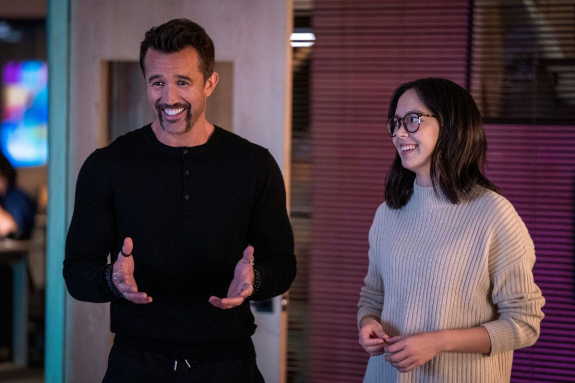 """Still of Rob McElhenney and Charlotte Nicdao in the Mythic Quest episode """"TBD."""""""