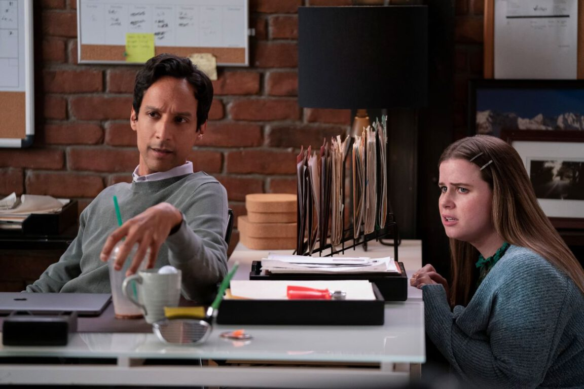 """Still of Danny Pudi and Jessie Ennis in the Mythic Quest episode """"TBD."""""""