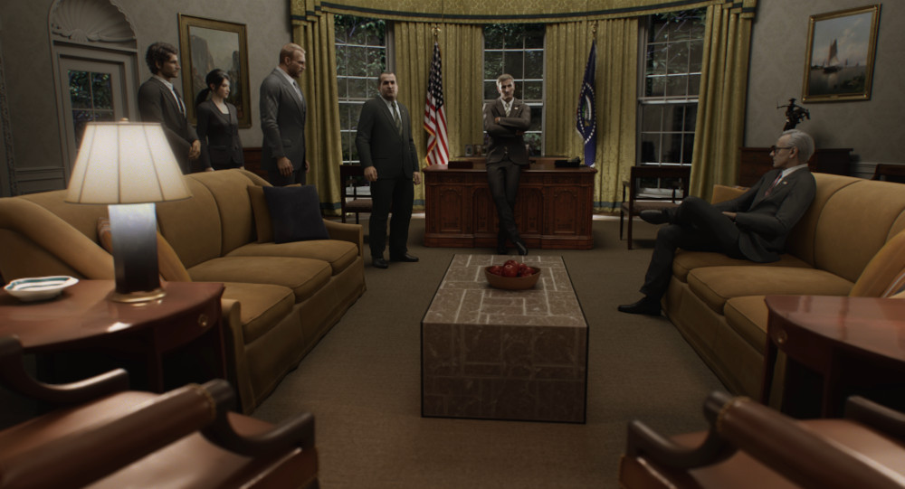 Staff meeting in the Oval Office in Resident Evil: Infinite Darkness