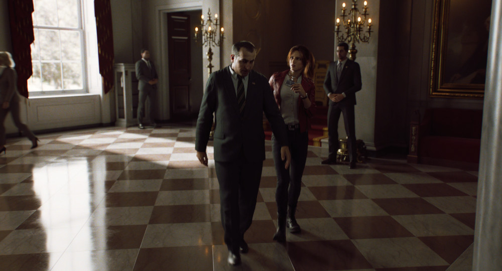 Claire trying to speak with someone at the White House in Resident Evil: Infinite Darkness.
