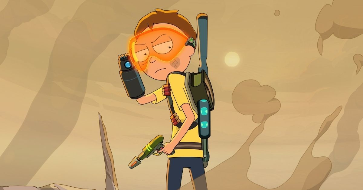 """Animated still of Morty after he destroys Hoovy's home world in the Rick and Morty episode """"Mort Dinner Rick Andre."""""""