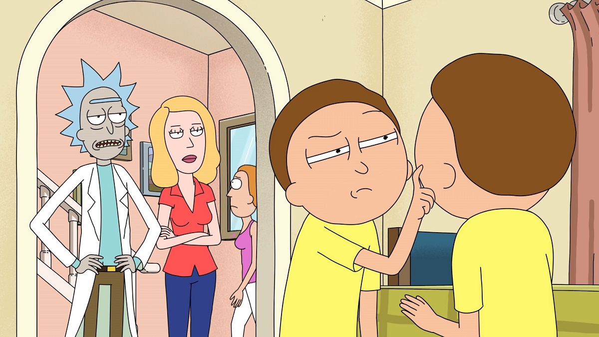"""Photo of Rick, Beth, and two Mortys in the Rick and Morty episode """"Mortyplicity."""""""