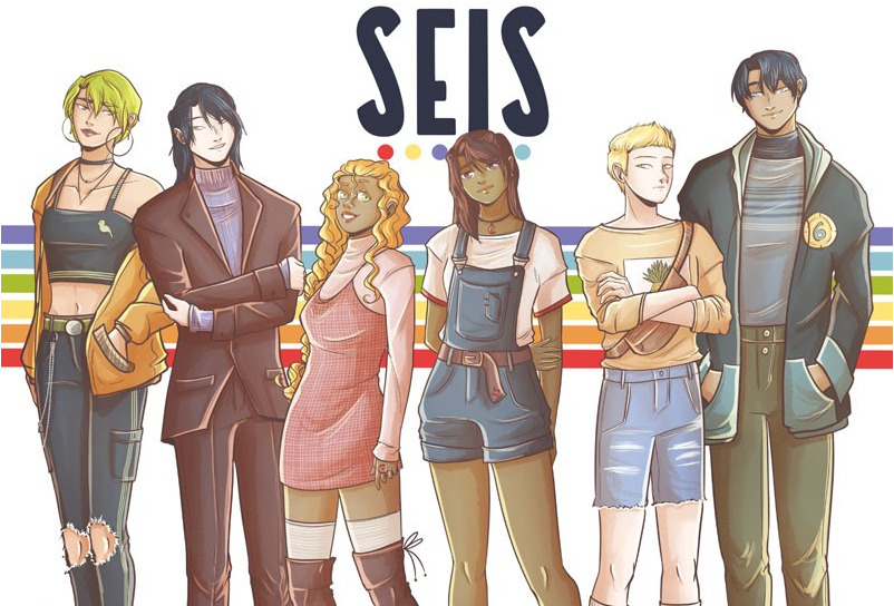 Erin, Alexis, Alicia, Maya, Teo and Lucca in the Webtoon SEIS