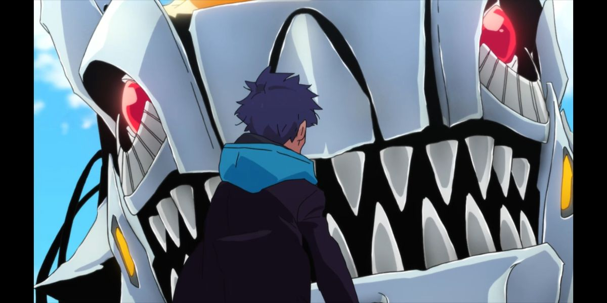 Yomogi confronted by the kaiju (SSSS.DYNAZENON season 2 episode 10)