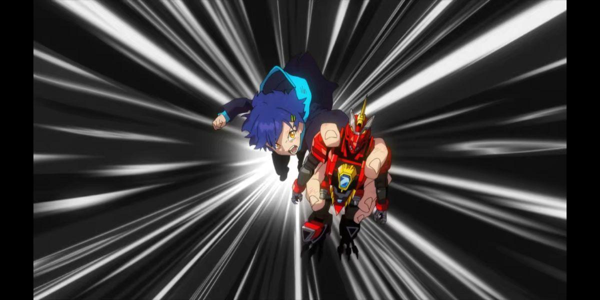 Yomogi using Dyna Rex to enter his friends' dreams (SSSS.DYNAZENON season 2 episode 10)