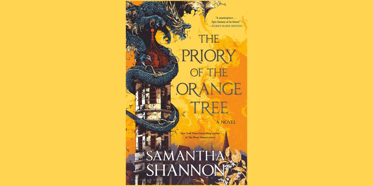 An orange book cover with a dragon wrapped around a crumbling stone tower