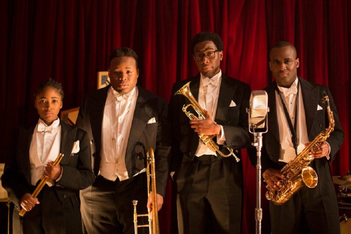 Still of Adelayo Adedayo, Samson Kayo, Daniel Lawrence Taylor, and Kadiff Kirwan in IMDb TV's Timewasters.