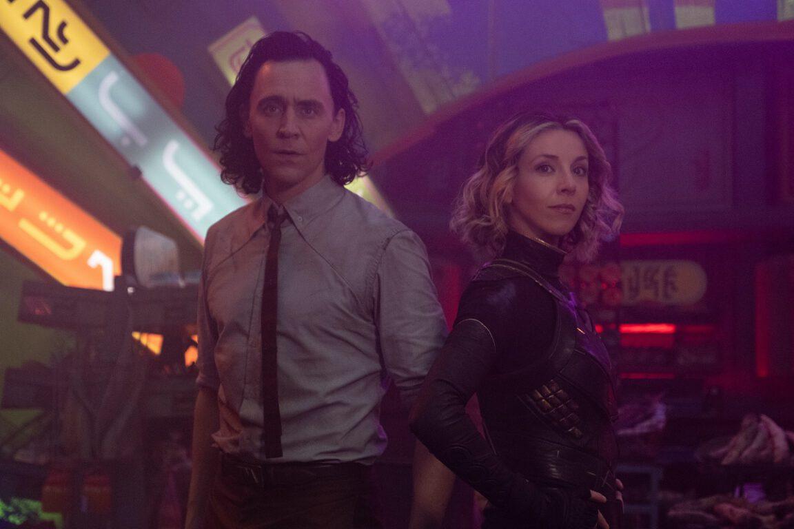 """Still of Tom Hiddleston and Sophia Di Martino in the Loki episode """"Lamentis."""""""