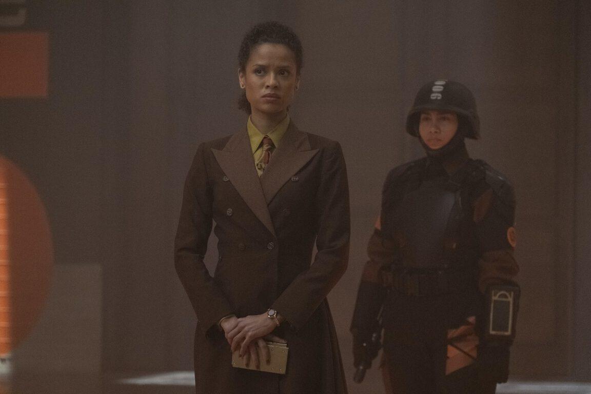 "Still of Gugu Mbatha-Raw as Ravonna Renslayer in the Loki episode ""The Nexus Event."""