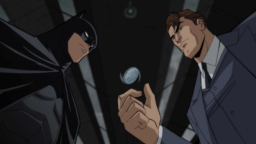 Batman and Harvey Dent flipping a coin in Batman: The Long Halloween Part One.