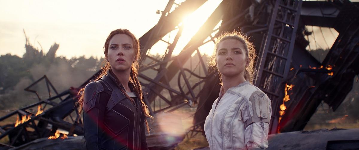 Still of Scarlett Johansson and Florence Pugh in Marvel's Black Widow.