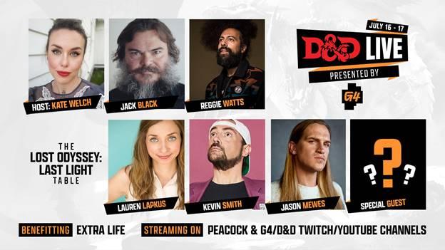 Cast list for D&D Live 2021 feature Kate Melch, Jack Black, Reggie Watts, Lauren Lampkus, Kevin Smith and Jason Mewes.