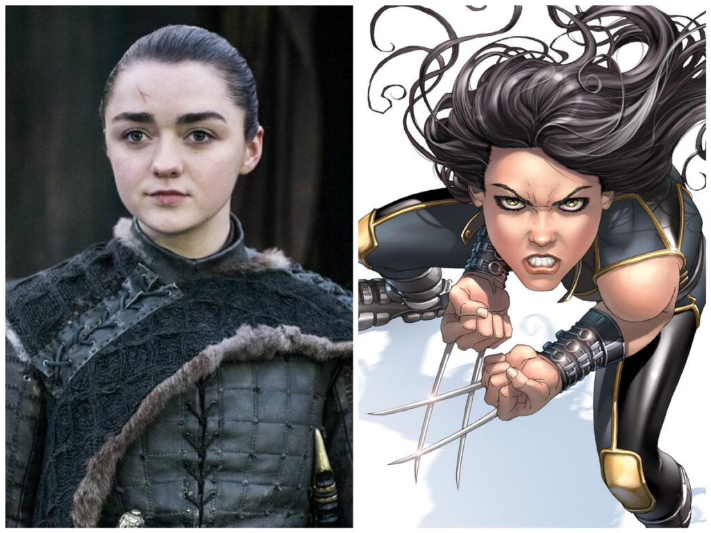 Collage of Arya Stark and Marvel character X-23.