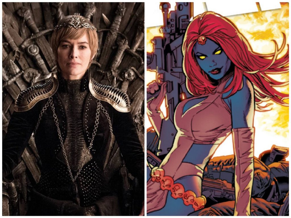 Collage of Game of Thrones character Cersei Lannister and Marvel character Mystique.