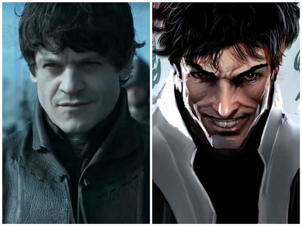Collage of Ramsay Bolton and Marvel character Maximus.