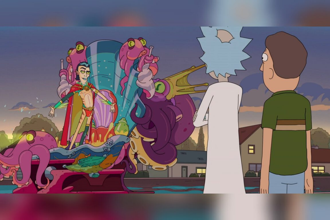 """Animated still of Rick and Jerry as they stand before Rick's nemesis, Nimbus in the Rick and Morty episode """"Mort Dinner Rick Andre."""""""
