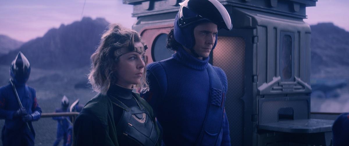 """Still of Sophia Di Martino and Tom Hiddleston in the Loki episode """"Lamentis."""""""
