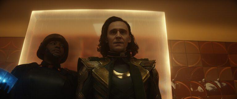 "Still of Tom Hiddleston and Wunmi Mosaku in ""Glorious Purpose."""