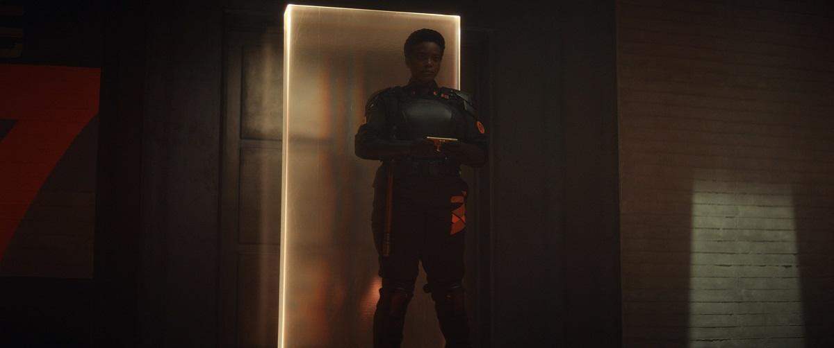 "Still of Wunmi Mosaku as Hunter B-15 in the Loki episode ""The Nexus Event."""