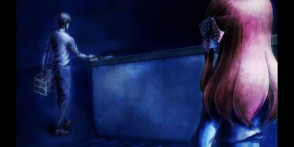 Sakura and Kotaro talk on the stairs (Zombie Land Saga Revenge season 2 episode 11)