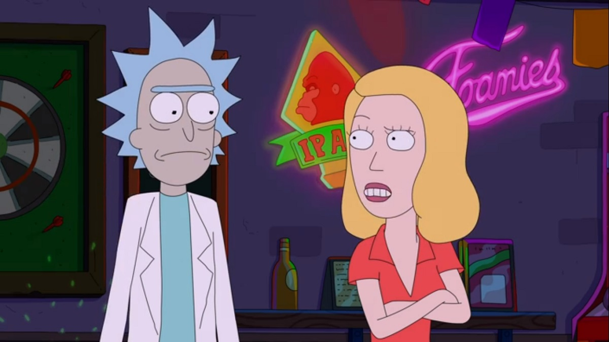 """Photo of Rick and Beth in the Rick and Morty episode """"Amortycan Grickfitti."""""""