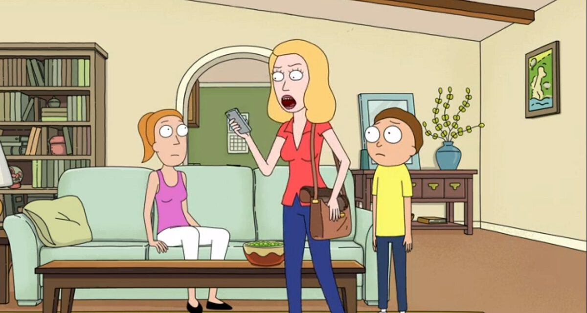 """Photo of Summer, Beth and Morty in the Rick and Morty episode """"Amortycan Grickfitti."""""""