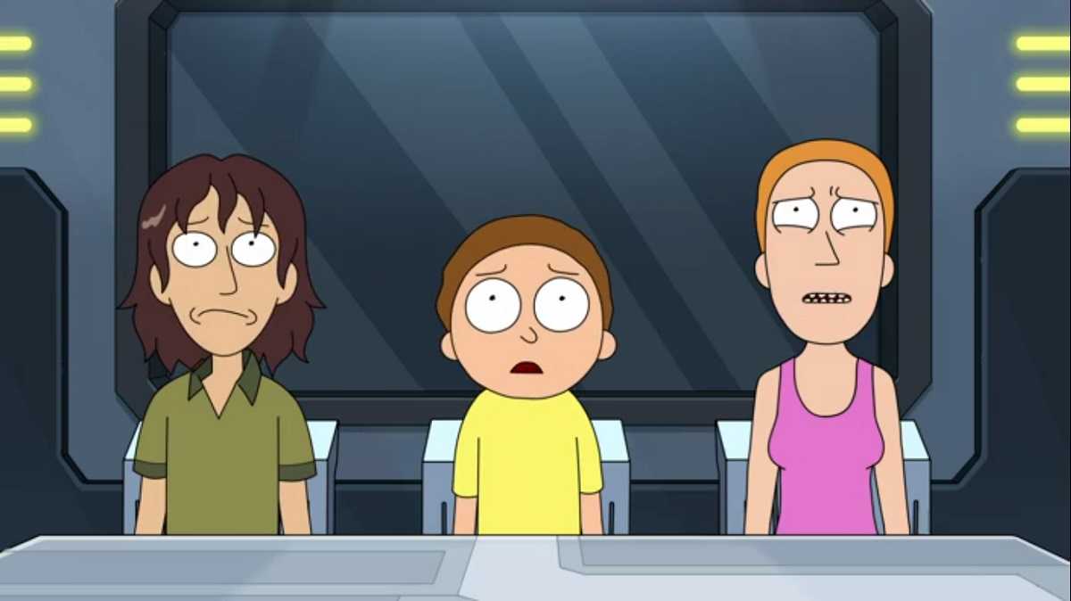 """Photo of Bruce, Morty and Summer in the Rick and Morty episode """"Amortycan Grickfitti."""""""