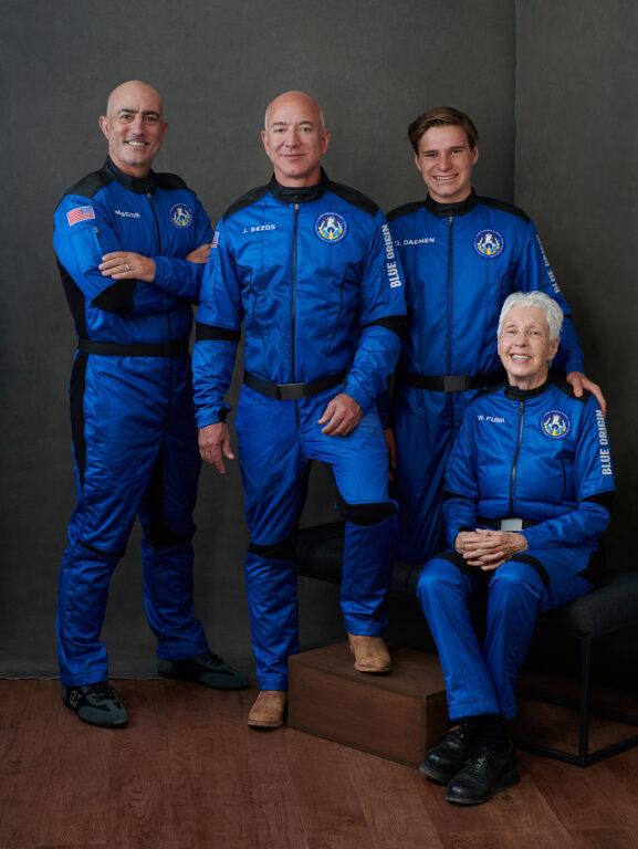 Blue Origin's New Shepard Crew: Mark Bezos, Jeff Bezos, Oliver Daemon, and Wally Funk