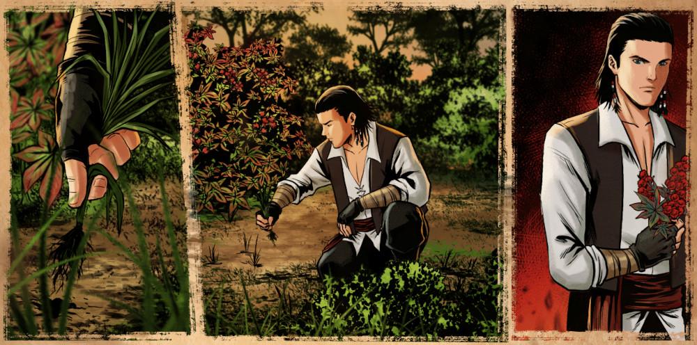 Cursed Swords Logbook Rhodes picking flowers.