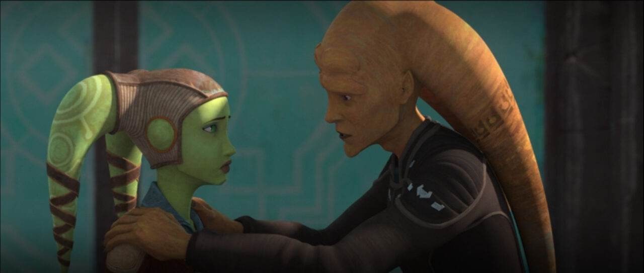 Cham Syndulla has a heartfelt talk with his daughter Hera.