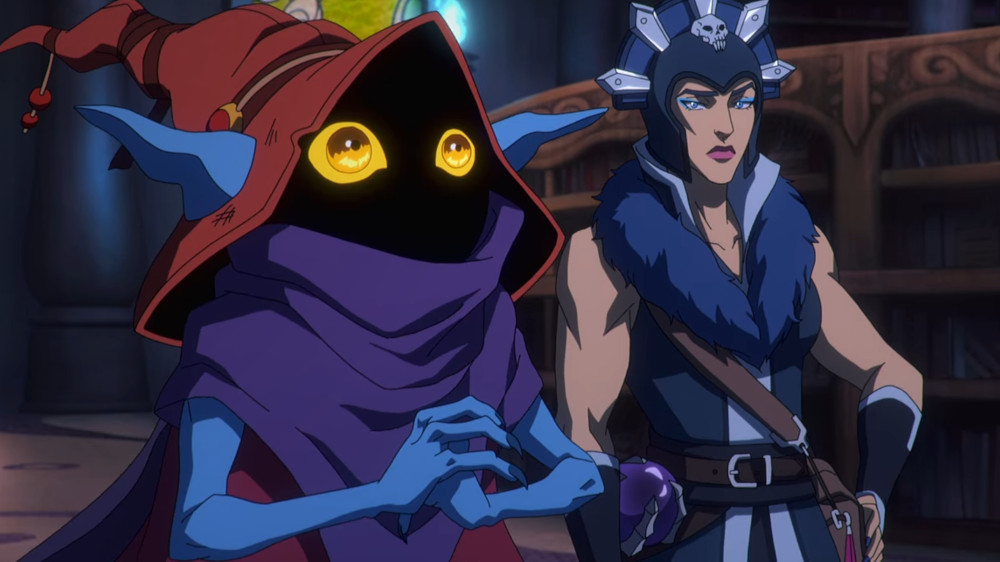 MASTERS OF THE UNIVERSE: REVELATION (L to R) GRIFFIN NEWMAN as ORKO and LENA HEADY as EVIL-LYN in episode 104 of MASTERS OF THE UNIVERSE: REVELATION Cr. COURTESY OF NETFLIX © 2021
