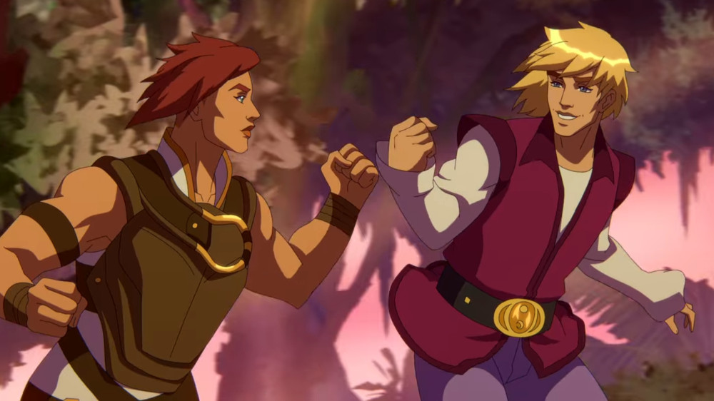 MASTERS OF THE UNIVERSE: REVELATION (L to R) SARAH MICHELLE GELLER as TEELA CHRIS WOOD as HE-MAN in episode 105 of MASTERS OF THE UNIVERSE: REVELATION Cr. COURTESY OF NETFLIX © 2021