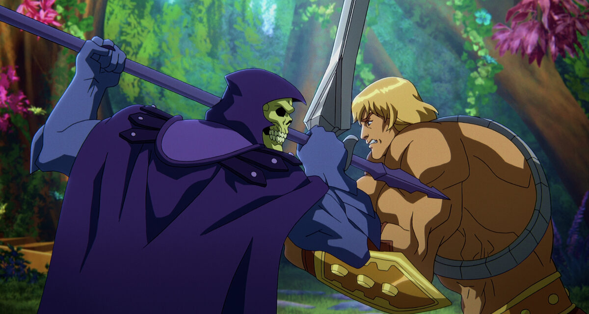 MASTERS OF THE UNIVERSE: REVELATION (L to R) MARK HAMILL as SKELETOR and CHRIS WOOD as HE-MAN in episode 101 of MASTERS OF THE UNIVERSE: REVELATION Cr. COURTESY OF NETFLIX © 2021