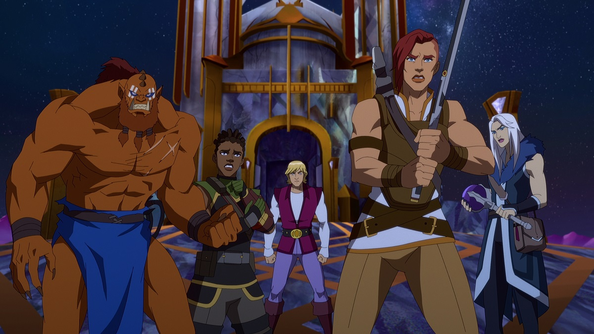 MASTERS OF THE UNIVERSE: REVELATION (L to R) KEVIN MICHAEL RICHARDSON as BEAST MAN, TIFFANY SMITH as ANDRA, CHRIS WOOD as PRINCE ADAM, SARAH MICHELLE GELLAR as TEELA and LENA HEADEY as EVIL-LYN in episode 105 of MASTERS OF THE UNIVERSE: REVELATION Cr. COURTESY OF NETFLIX © 2021