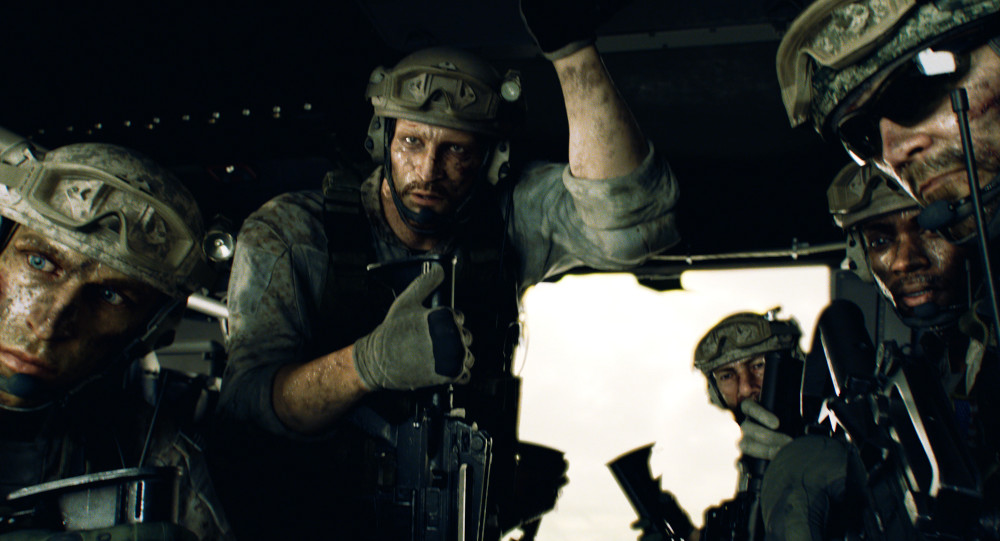 Jason and the other Mad Dogs preparing to land in Penamstan in Resident Evil: Infinite Darkness.