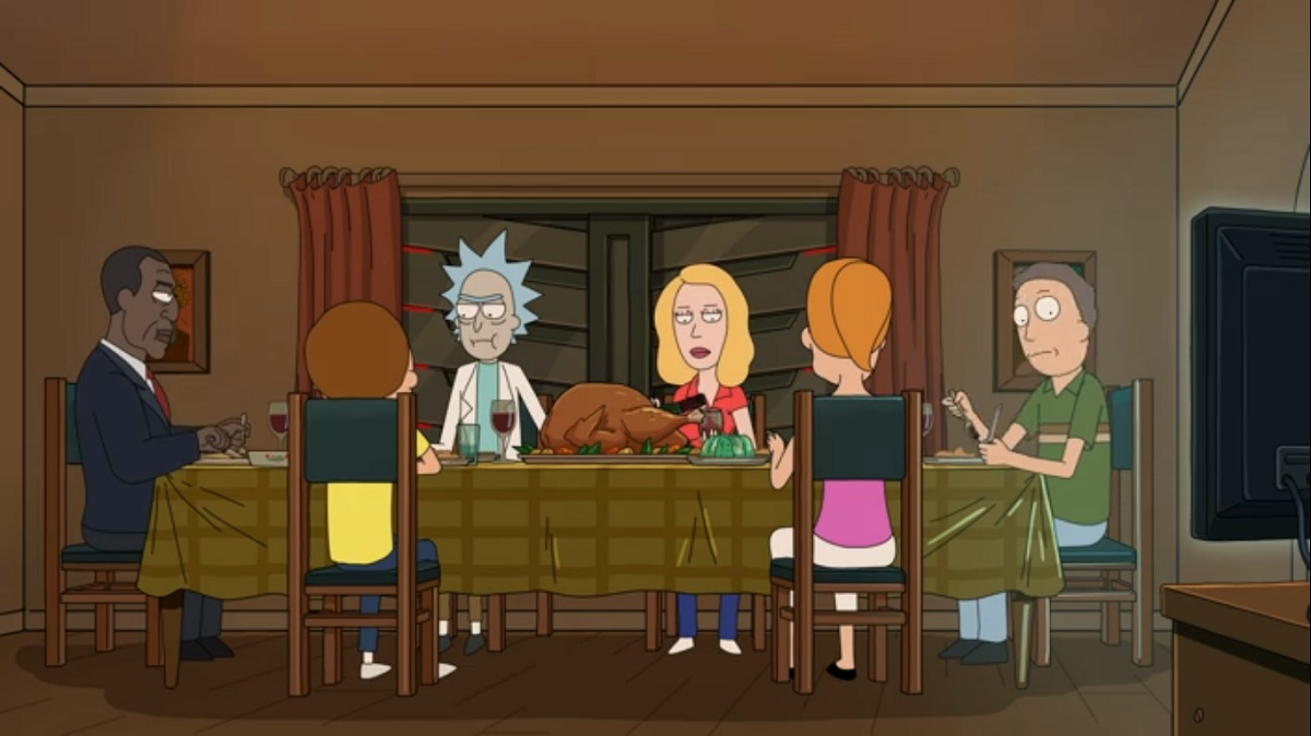 Photo of the President, Rick, Morty, Summer, Beth and Jerry.