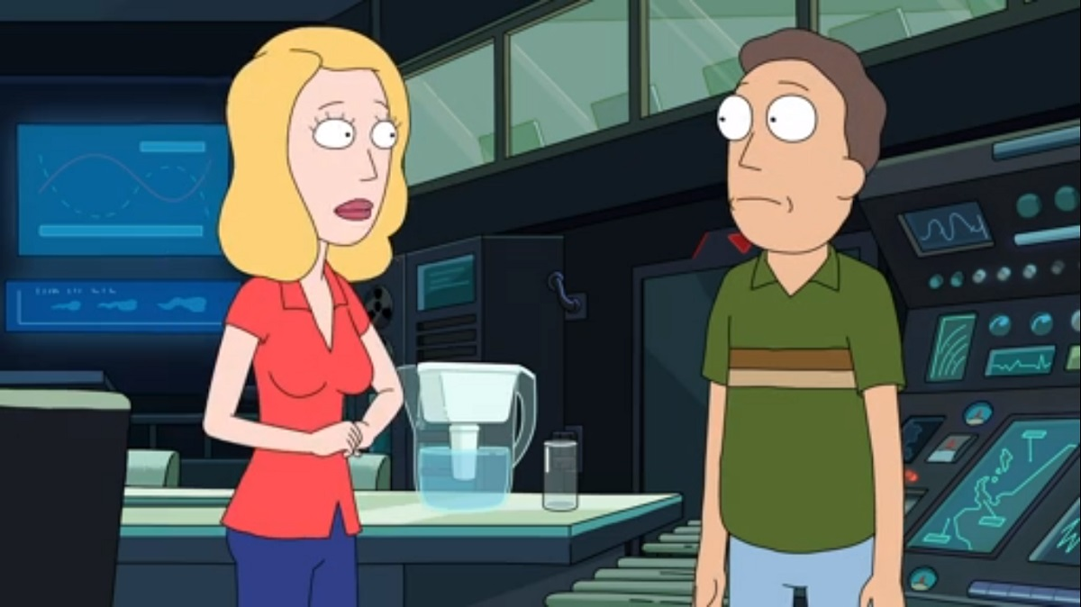 """Photo of Beth and Jerry in the Rick and Morty episode """"Rickdependence Spray."""""""
