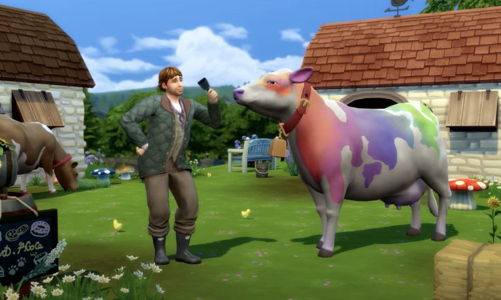 The Sims 4 Cottage Living. Prize winning rainbow cow.