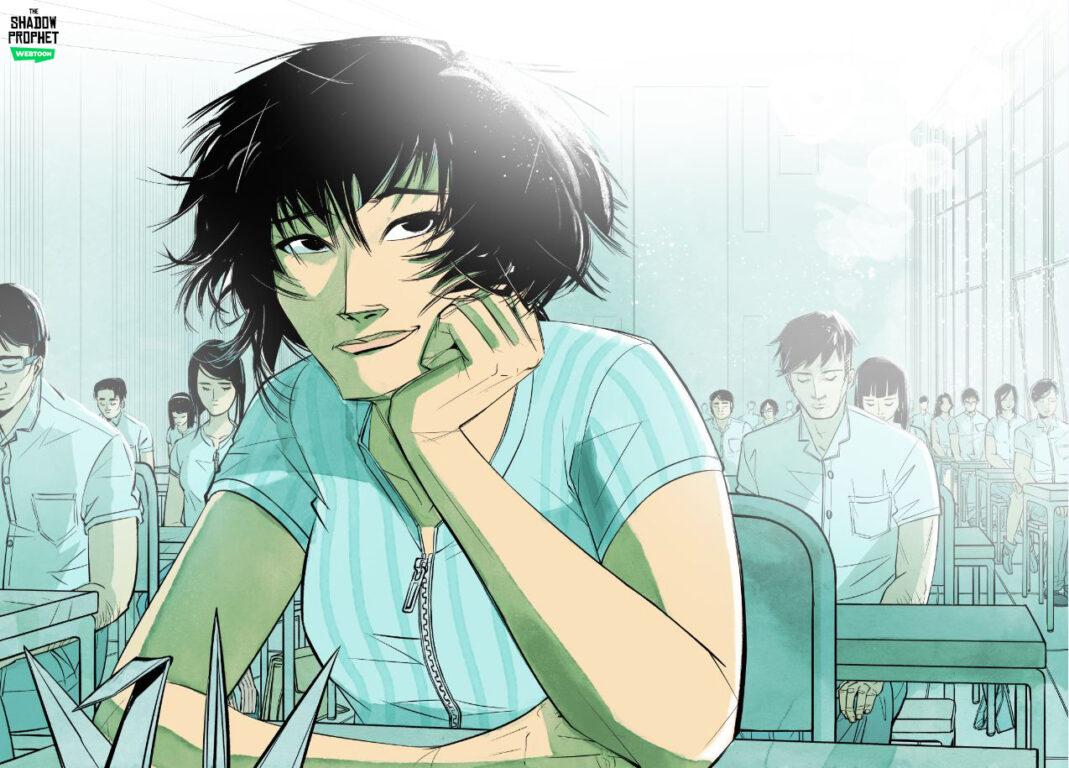 Itshou in class in The Shadow Prophet.