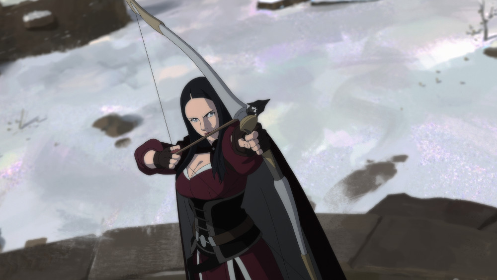 Tetra firing a bow in The Witcher: Nightmare of the Wolf.